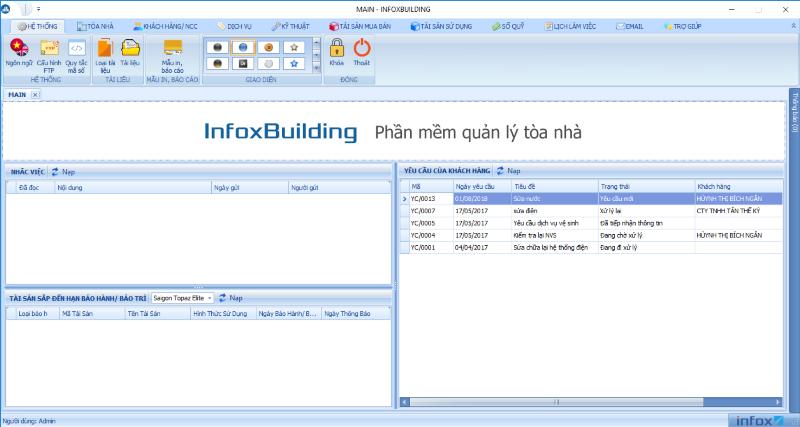 Màn hình sau khi đăng nhập thành công phần mềm InfoxBuilding